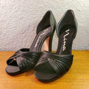 Nina Black Peep Toe Satin Dress D'Orsay Heel NWOT